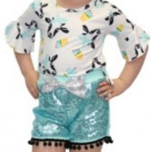 Girls size 6 sequins mint blue shorts top set